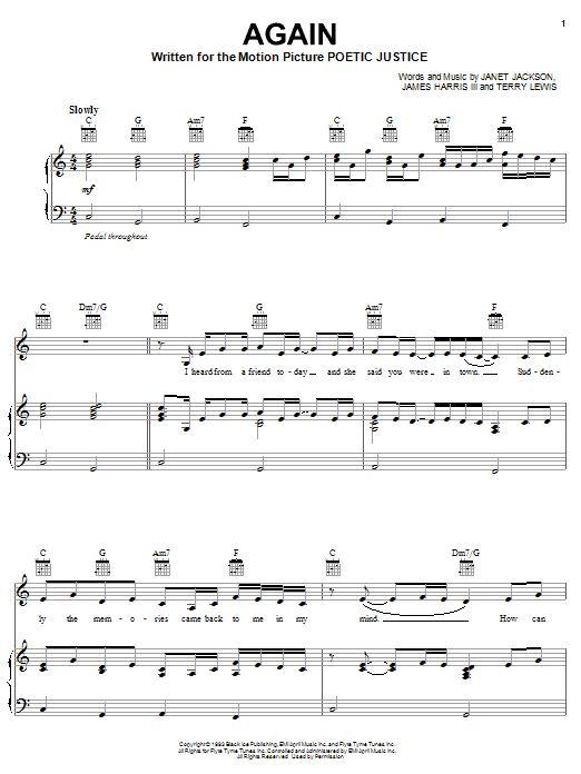 Partition piano Again de Janet Jackson - Piano Voix Guitare (Mélodie Main Droite)