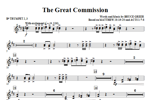 The Great Commission - Bb Trumpet 2,3 Sheet Music