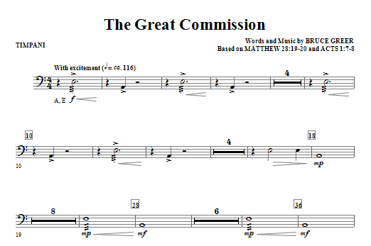 The Great Commission - Timpani Sheet Music
