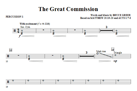 The Great Commission - Percussion 1 Sheet Music