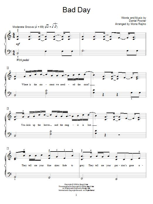 Partition piano Bad Day de Daniel Powter - Autre