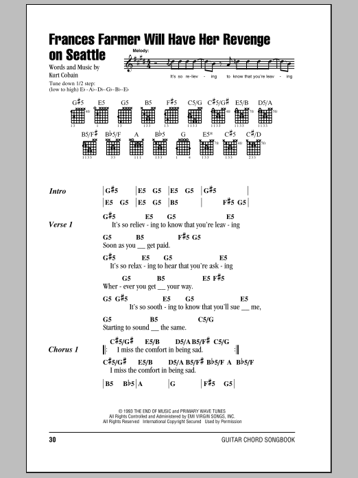 Frances Farmer Will Have Her Revenge On Seattle (Guitar Chords/Lyrics)