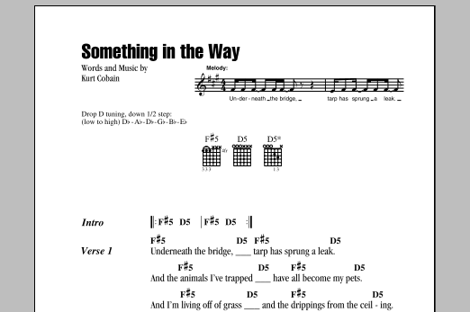 Something In The Way Sheet Music