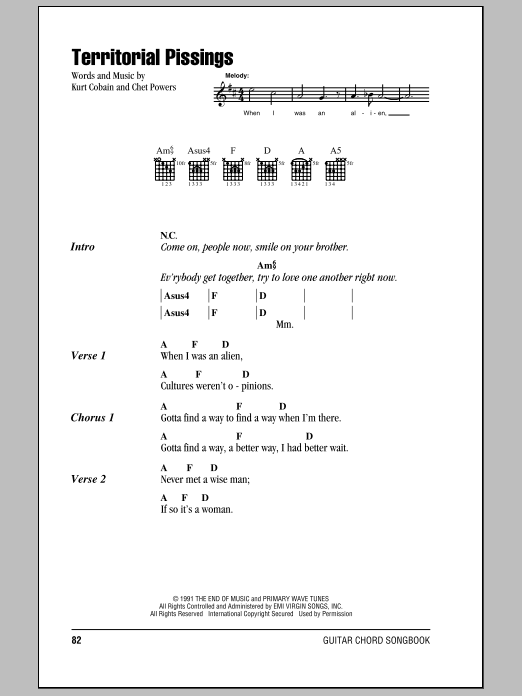 Territorial Pissings Sheet Music