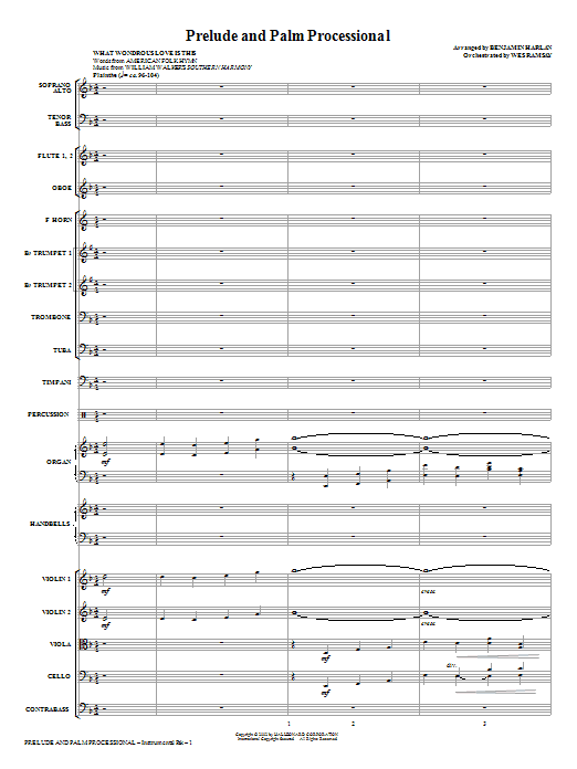 Prelude And Palm Processional (COMPLETE) sheet music for orchestra/band (Orchestra) by Benjamin Harlan. Score Image Preview.