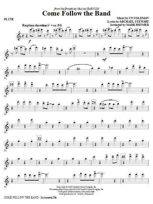Come Follow The Band - Flute Sheet Music