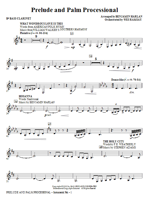 Prelude And Palm Processional - Bb Bass Clarinet