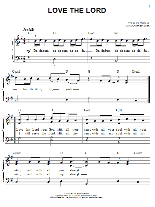 Love The Lord (Easy Piano)