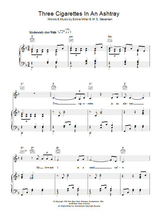 Three Cigarettes In An Ashtray Sheet Music