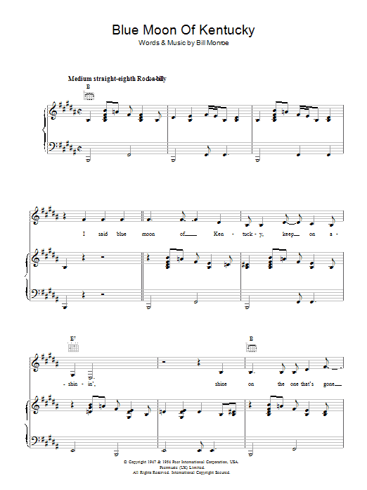 Blue Moon Of Kentucky (Piano, Vocal & Guitar)