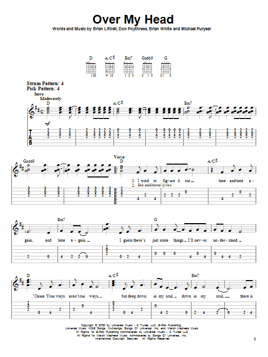 Over My Head by Brian Littrell - Easy Guitar Tab - Guitar Instructor