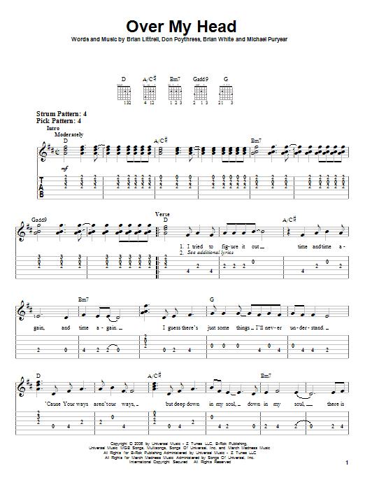 Tablature guitare Over My Head de Brian Littrell - Tablature guitare facile