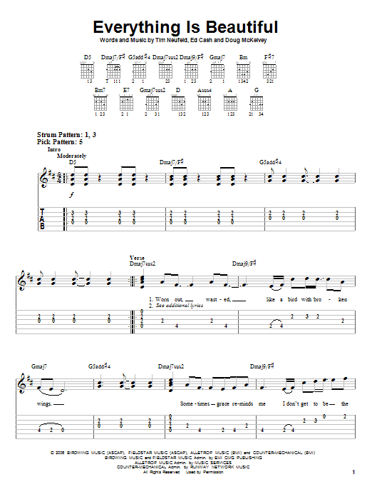 Everything Is Beautiful (Easy Guitar Tab)