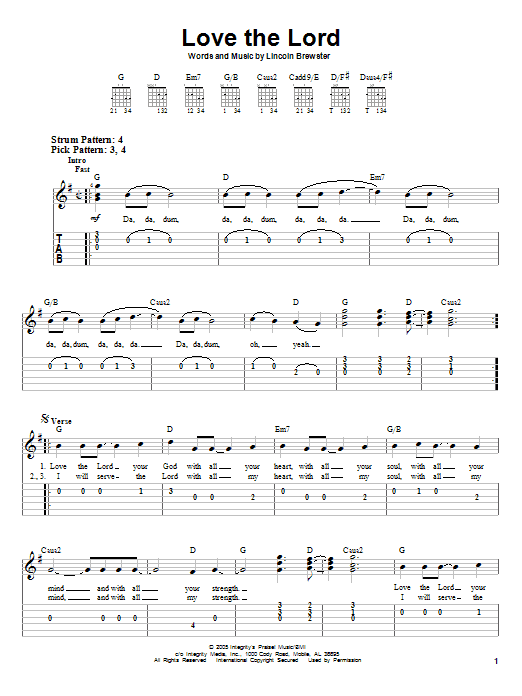 Love The Lord (Easy Guitar Tab)