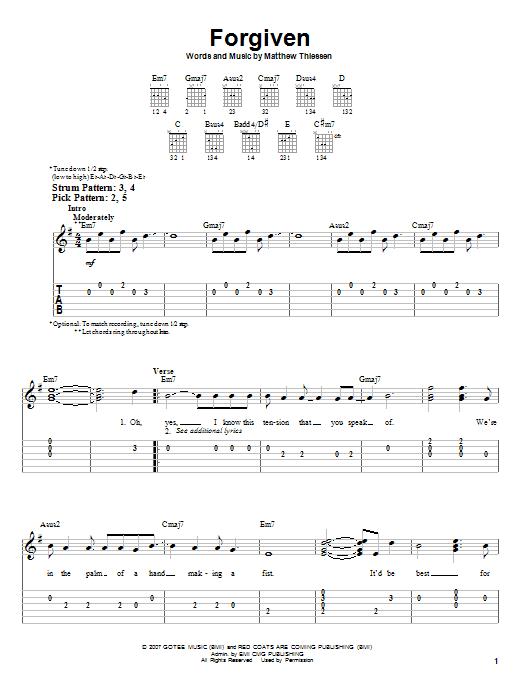 Forgiven (Easy Guitar Tab)