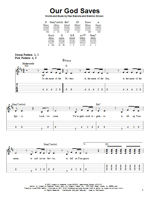 Our God Saves (Easy Guitar Tab)