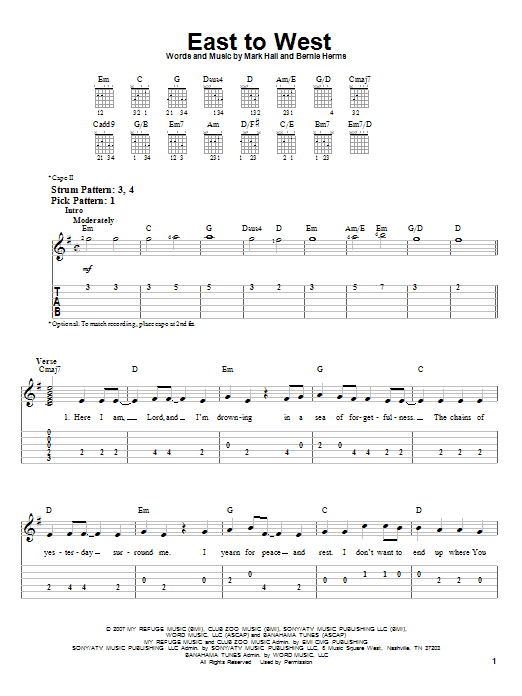 East To West (Easy Guitar Tab)
