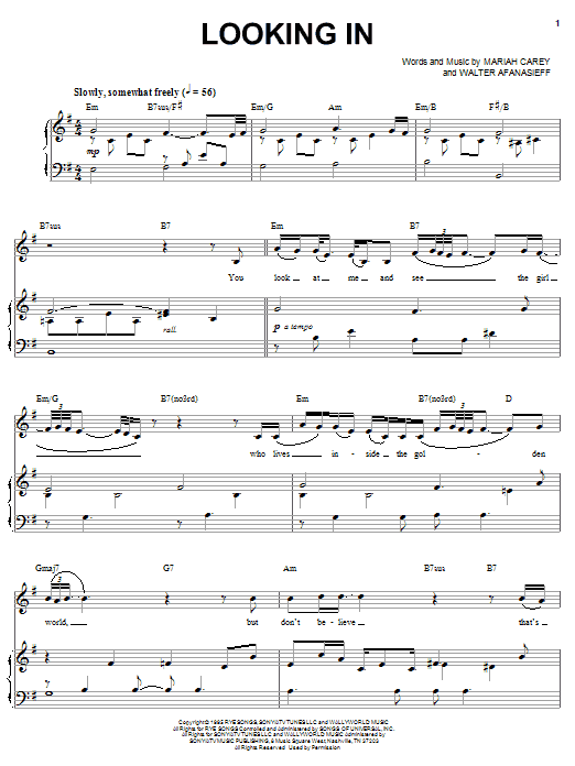 Looking In (Piano, Vocal & Guitar (Right-Hand Melody))