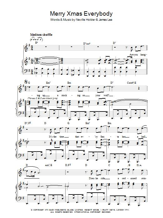 Merry Xmas Everybody (Piano, Vocal & Guitar)