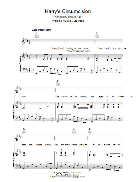 Harry's Circumcision (Piano, Vocal & Guitar)