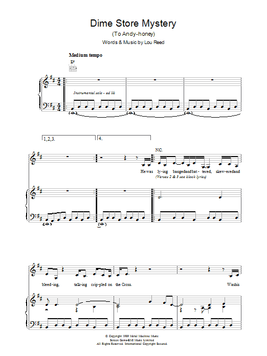 Dime Store Mystery (Piano, Vocal & Guitar)