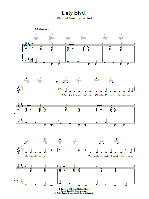 Dirty Blvd. (Piano, Vocal & Guitar)