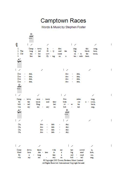 The Camptown Races (Ukulele Chords/Lyrics)
