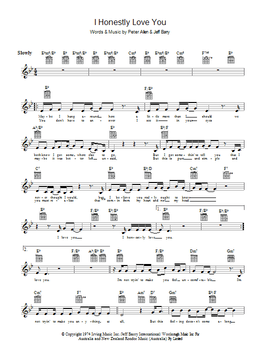 I Honestly Love You Sheet Music