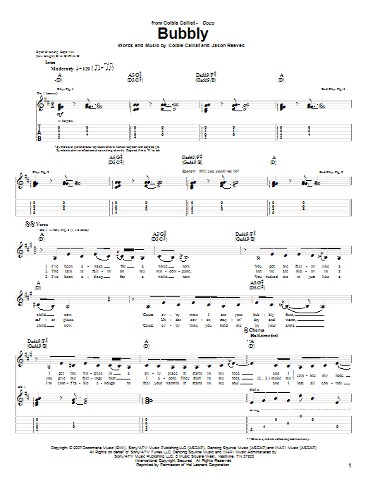 Tablature guitare Bubbly de Colbie Caillat - Tablature Guitare