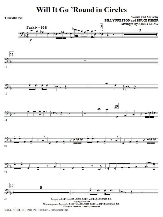 Will It Go Round In Circles - Trombone (Choir Instrumental Pak)
