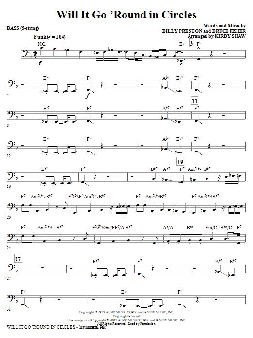 Will It Go Round In Circles - Bass (Choir Instrumental Pak)