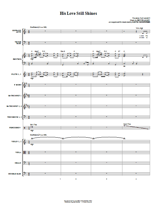His Love Still Shines (COMPLETE) sheet music for orchestra/band (Orchestra) by Dennis Allen and Keith Christopher. Score Image Preview.