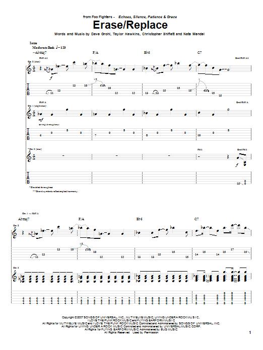 Tablature guitare Erase/Replace de Foo Fighters - Tablature Guitare