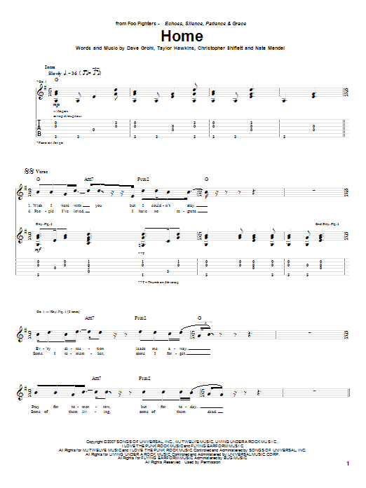 Tablature guitare Home de Foo Fighters - Tablature Guitare