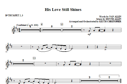 His Love Still Shines - Bb Trumpet 2,3 Sheet Music