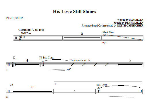 His Love Still Shines - Percussion Sheet Music
