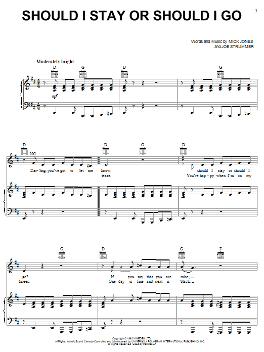 Should I Stay Or Should I Go (Piano, Vocal & Guitar (Right-Hand Melody))