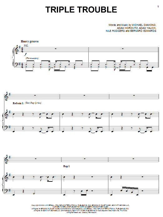 Triple Trouble (Piano, Vocal & Guitar (Right-Hand Melody))