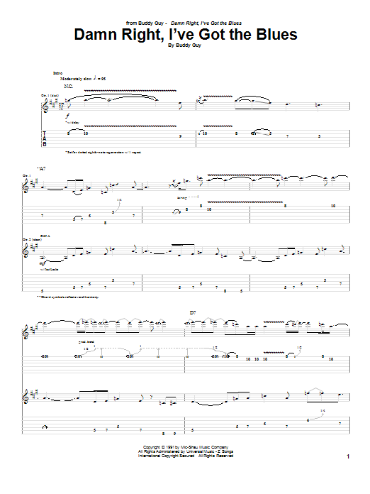 Damn Right, I've Got The Blues (Guitar Tab)