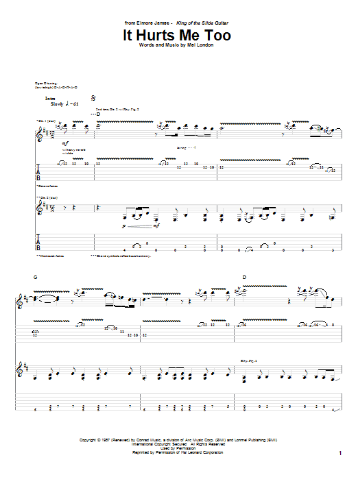 It Hurts Me Too Sheet Music