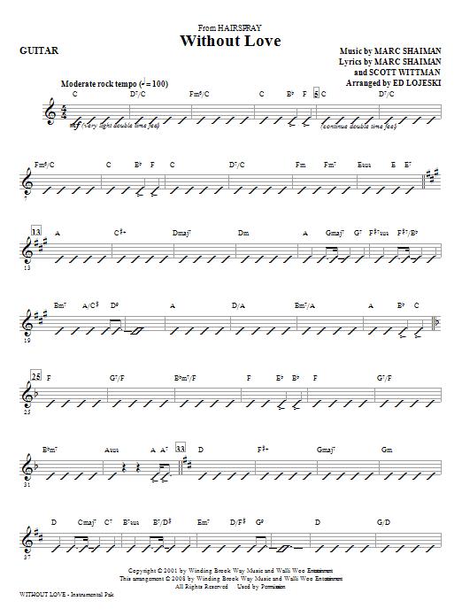 Without Love - Guitar (Choir Instrumental Pak)