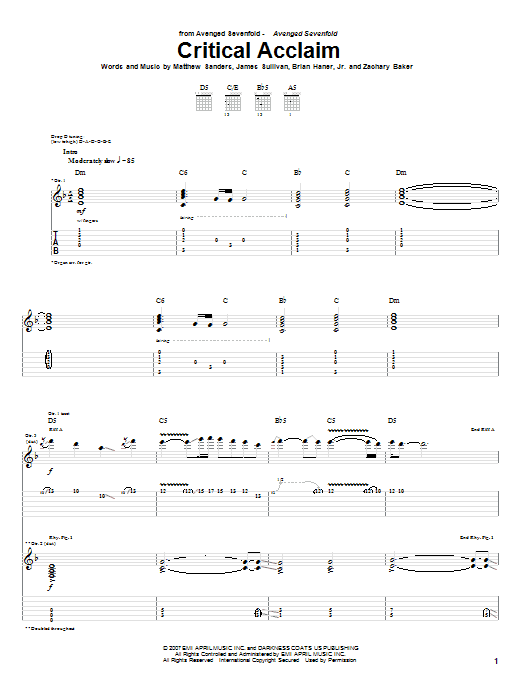 Tablature guitare Critical Acclaim de Avenged Sevenfold - Tablature Guitare