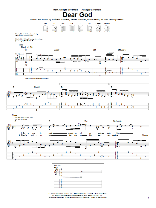 Guitar guitar tabs avenged sevenfold : Dear God by Avenged Sevenfold - Guitar Tab - Guitar Instructor