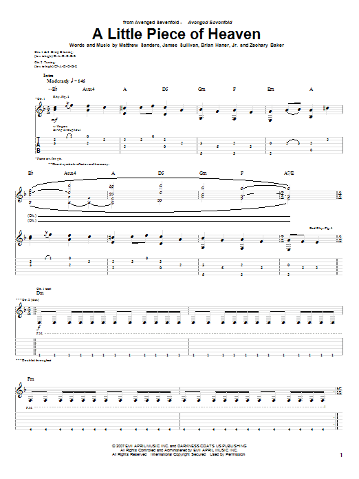 Guitar guitar tabs avenged sevenfold : A Little Piece Of Heaven by Avenged Sevenfold - Guitar Tab ...