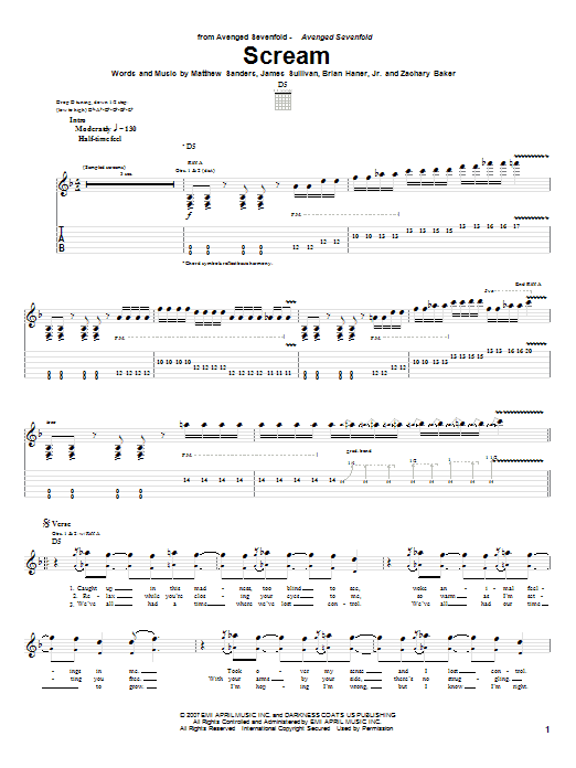 Guitar guitar tabs avenged sevenfold : Scream Guitar Tab by Avenged Sevenfold (Guitar Tab – 63881)