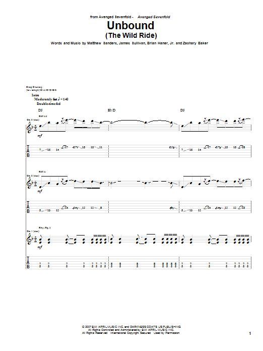 Tablature guitare Unbound (The Wild Ride) de Avenged Sevenfold - Tablature Guitare