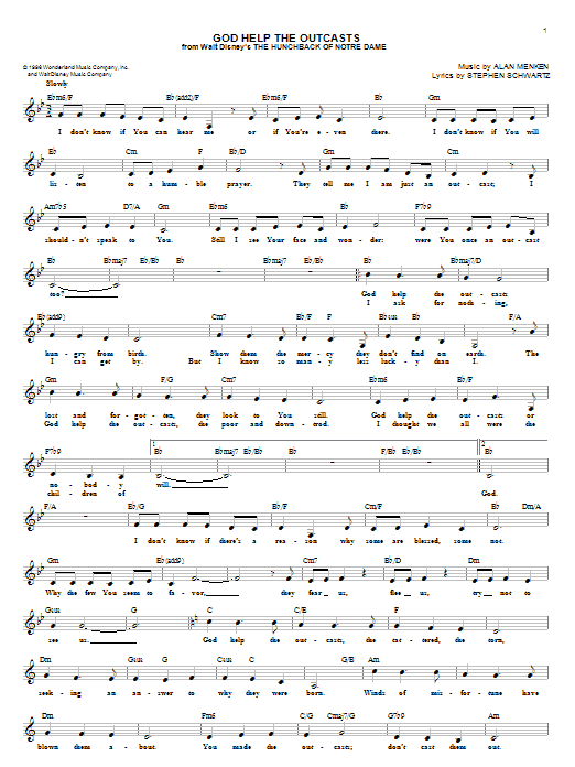 God Help The Outcasts (Lead Sheet / Fake Book)