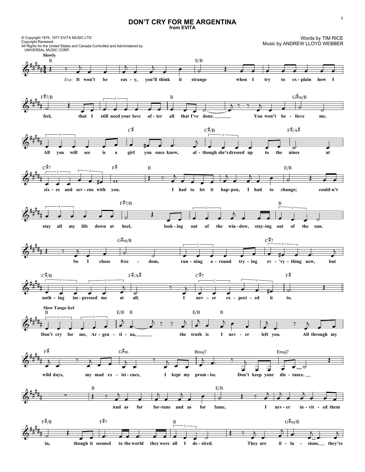 Don't Cry For Me Argentina (Lead Sheet / Fake Book)
