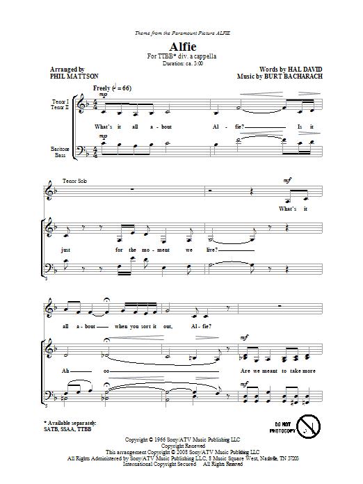 Alfie (TTBB Choir)