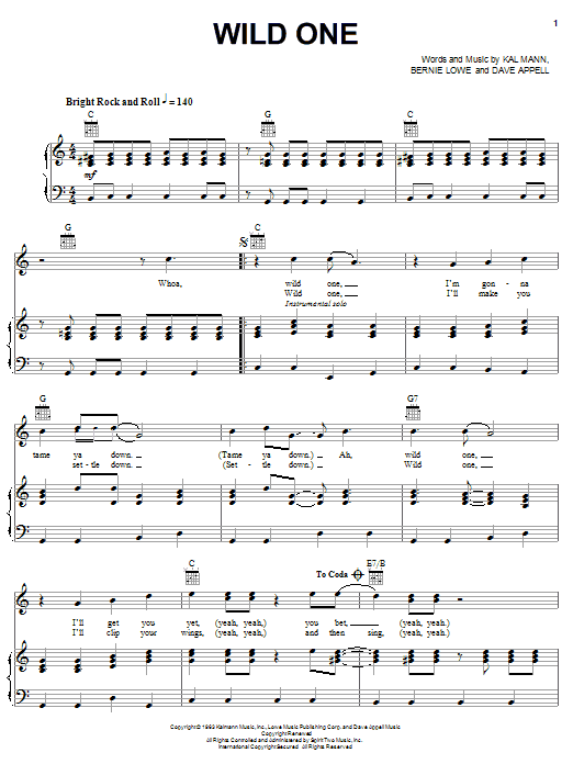 Wild One (Piano, Vocal & Guitar (Right-Hand Melody))